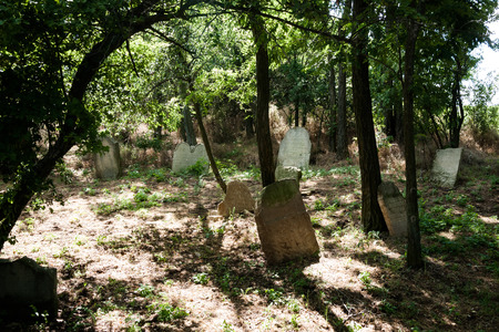 60860624 - grave stones at historic jewish cemetery in slovakia