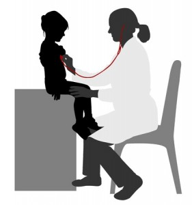 44308292 - pediatrician examining of child with stethoscope - vector