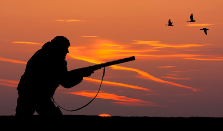 36988866 - silhouette of men on the hunting