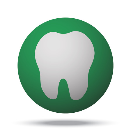 56497747 - white tooth web icon on green sphere ball