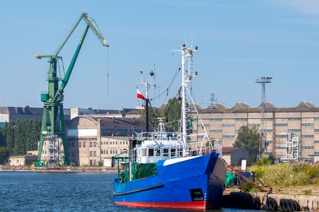 49161611 - fishing seiner front of the gdansk shipyard in the seaport.